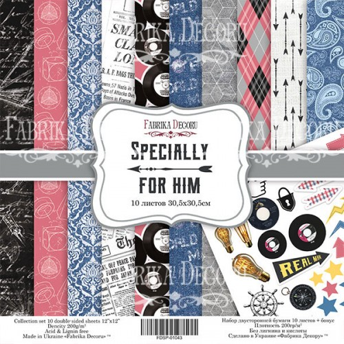 "DOUBLE-SIDED SCRAPBOOKING PAPERS SET ""SPECIALLY FOR HIM"""