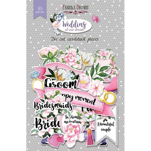 """Set of die cuts Wedding of our dream"""", 65 pcs"""""""