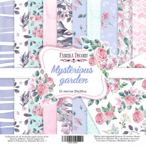 """DOUBLE-SIDED SCRAPBOOKING PAPER SET """"MYSTERIOUS GARDEN"""""""