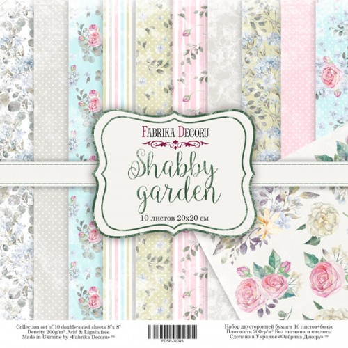 "DOUBLE-SIDED SCRAPBOOKING PAPER SET ""SHABBY GARDEN"""
