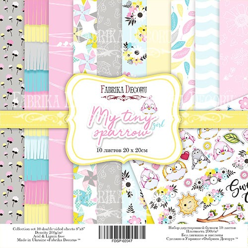 "Scrapbooking  paper set"" My tiny Sparrow Girl"""