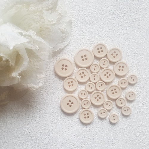 BUTTONS – A SET OF 27 pcs. Color Beige