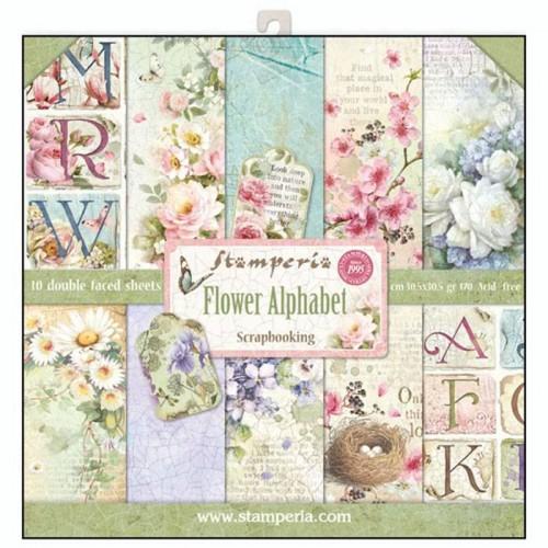 """Set de papeles Stamperia """"Flower Alphabet"""" 30,5 * 30,5"""