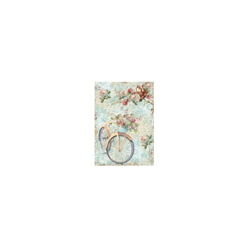 Rice Paper A4  Bike & Branch with flowers - Stamperi