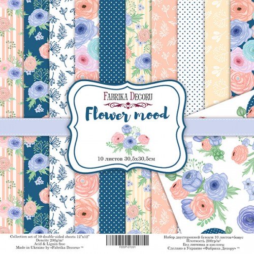 "Scrapbooking paper set ""Flower mood"", 12"" x 12"""