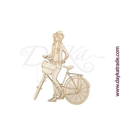 Chica en bici con trenza