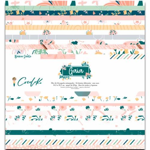 Bloc de 24  papeles Gaia 12x12 - 1 cara - Cocoloko
