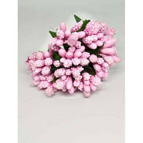 Estambres con flor, color rosa claro