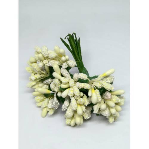 Estambres con flor, color crema
