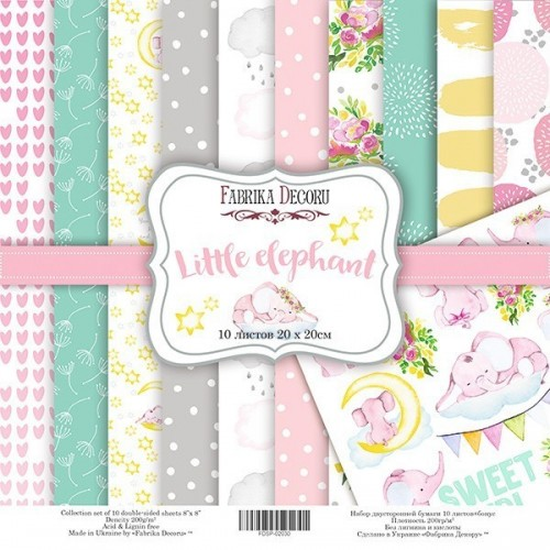 "Double-sided scrapbooking paper set ""Little elephant"", 10 sheets"