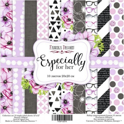"""Scrapbooking paper set """"Especially for her"""", 10 sheets"""