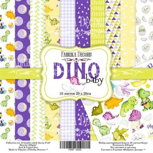 Set of Scrapbooking paper Dino Baby