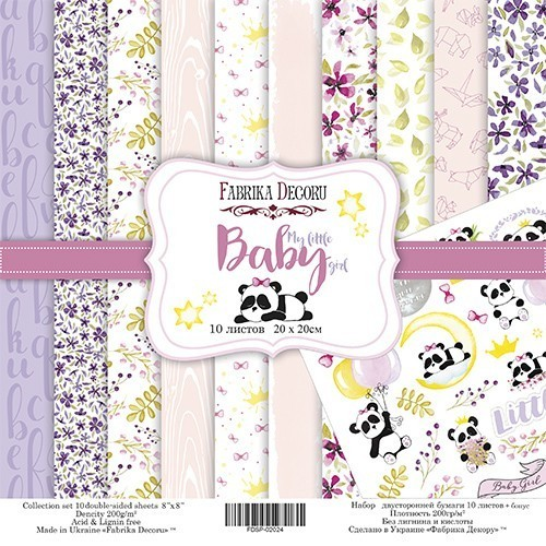 """Double-sided scrapbooking paper set """"My little baby girl"""", 10 sheets"""