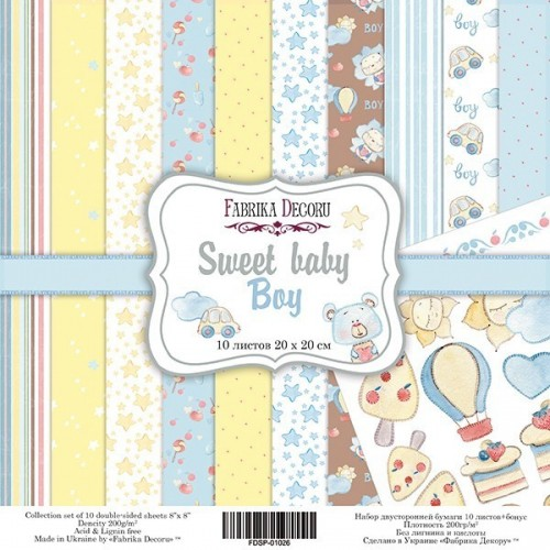 """Double-sided scrapbooking paper set """"Sweet baby boy"""", 10 sheets"""