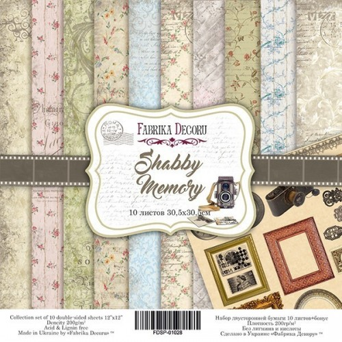 """Double-sided scrapbooking paper set """"Shabby memory"""", 10 sheets, 12""""x 12"""