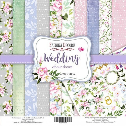 """Double-sided scrapbooking paper set """"Wedding of our dream"""", 10 sheets"""