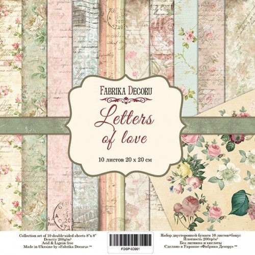 Set of scrapbooking paper Letters of love