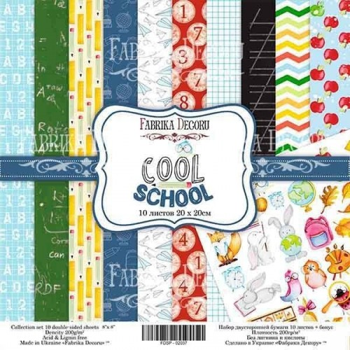 Double-sided scrapbooking paper set  Cool school