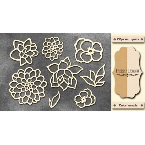 Chipboards set Flowers 2""""